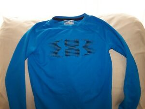 Boys Under Armour Blue LS BIG LOGO ALL SEASON GEAR Waffle Shirt Small LOOSE
