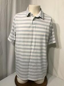 Men's Gray And White Striped Under Armour Polo Shirt-Size L