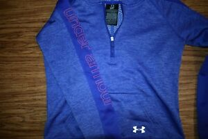 UNDER ARMOUR COLD GEAR Girls LS Soft Polyester 14 Zip Hoodie Purple Size YMD