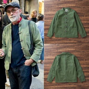 Men#x27;s Vintage Army Coat Military Work Jacket Cotton Single breasted Overcoat New $75.00
