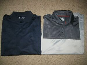 2-Lot Under Armour Loose Heat Gear Men's Polo Shirts XL Casual Lounge Golf Club