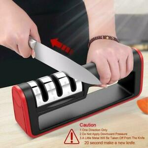 KNIFE SHARPENER Kitchen Knives Blade Sharpening Tool 3 Stage Handheld Black/Red