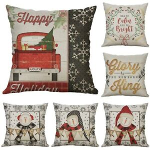 Cotton Christmas Home Cover case Decor pillow Printing Car snowman Linen $3.15