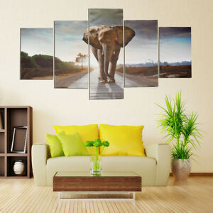 5Pcs Set Large Abstract Elephant Canvas Print Art Picture Home Wall Hanging