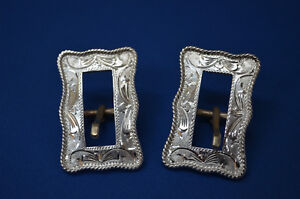 Pair of FLEMING Sterling Silver Fancy Horse Bridle Headstall Buckles * 38