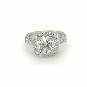 Christopher Designs Cushion Halo Diamond Engagement  Ring 18K White Gold  Cent