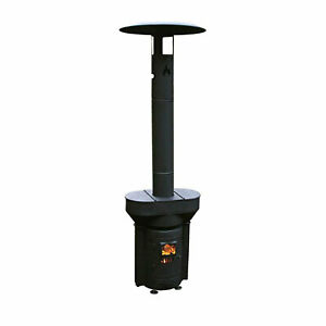 Q Stoves Q Flame Outdoor Heater Portable for Patio Camping Wood Pellets Black