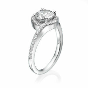 0.85 CT Elegant Round Natural Diamond Engagement Ring 18K White Gold F-GSI2-I1