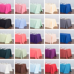 Bulk Sale 10 15 20 30 50 PK 90 x 132 in. Polyester Rectangular Tablecloth Event