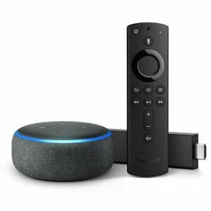 Fire TV Stick 4K bundle with Echo Dot 3rd Gen Charcoal HD streaming media Alexa