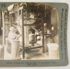 Stereoview Keystone 22164 Filling And Sewing Bags Of Granulated Sugar New York O $14.99