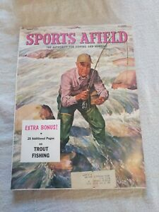 SPORTS AFIELD MAGAZINE March 1956 Vintage Hunting John Scott Fly Fishing Cover