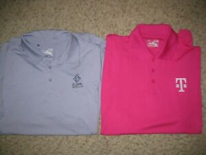 2-Lot Under Armour Loose Heat Gear Men's Polo Shirts XL Pink & Purple Lounge