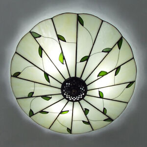 Tiffany Style Flush Mount Ceiling Light Stained Glass Shade Bedroom Lamp Fixture