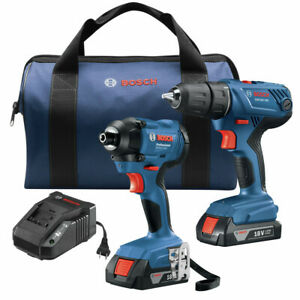 Bosch GXL18V 26B22 RT 18V Drill and Impact Driver Kit Certified Refurbished $129.99