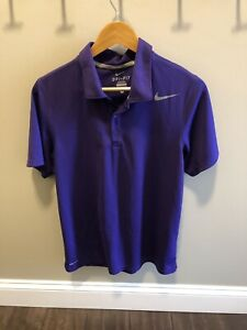 Nike Dri Fit Polo Shirt Tennis Gold Purple Mens Small Solid Color Sports Shirt