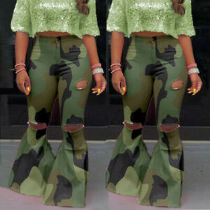 Women Camouflage Print Bodycon Long Bell-bottom Pants Trouser Hole Design New