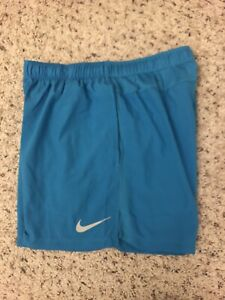 Nike Running Mens Dri Fit Shorts Pockets Blue  Size Large With Liner