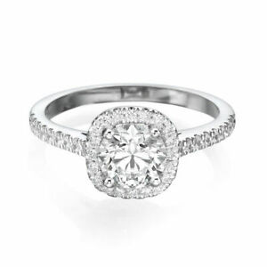 Elegant 18K White Gold Round Natural Diamond Engagement Ring 0.95 CT F-GSI2-I1