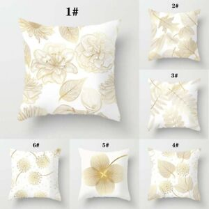Women Peach Pillowcase Home Case Skin Yellow Pillow Leaf Cushion Golden 18quot;x18quot; $2.37