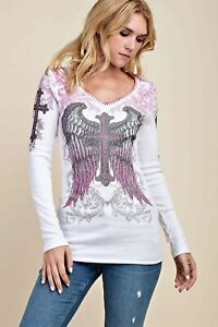 VOCAL Womens CRYSTAL WHITE PINK CROSS ANGEL WINGS WHIPSTITCH SHIRT USA S M L XL