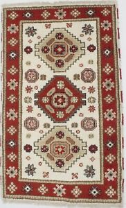 Ivory Hand-Knotted Tribal Kazak 3X5 Oriental Home Décor Area Rug Wool Carpet