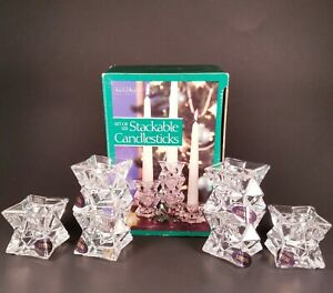 The American Crystal Collection 6 Stackable Candlesticks 24% Lead Crystal