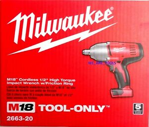 New In Box Milwaukee M18 2663 20 Cordless 1 2quot; High Torque Impact Wrench 18 Volt
