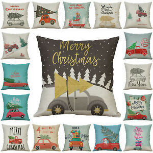 Christmas Waist Decor Cover Home Case Car Cushion Cotton Sofa Linen Tree Pillow $3.15