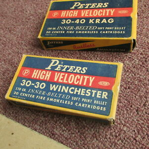 vintage PETERS High Velocity 30 30 WINCHESTER - 30 40 KRAG - AMMO BOXES  2 for 1