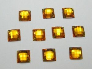 200 Gold Flatback Acrylic Sewing Square Rhinestone Buttons 10X10mm Sew on Beads $4.09