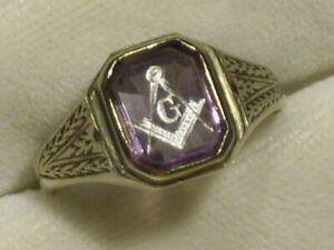 MENS VINTAGE ART DECO 14K WHITE GOLD AMETHYST MASONS RING MASONIC 5.4 grams
