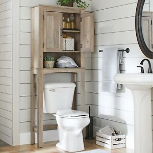 Over The Toilet Bath Cabinet Bathroom Space Saver Storage Organizer Rustic Grey
