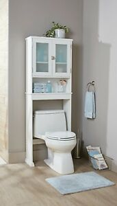 Over the Toilet Bathroom Storage Cabinet Shelf Organizer Space Saver White New
