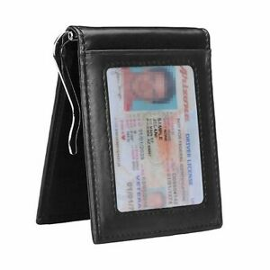 RFID Men#x27;s Leather Slim Bifold Money Clip Wallet Front Pocket Credit Card Holder