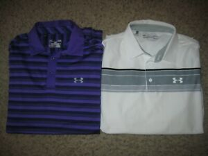2-Lot Under Armour Loose Heat Gear Men's Polo Shirts M Casual Dress Lounge Club
