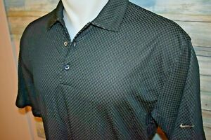 NIKE GOLF FIT DRY Men's SS Polyester Polo Shirt Black Dotted Size Large