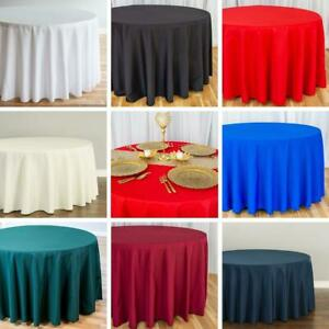 Bulk Sale 120 in. Round Polyester Tablecloths Wedding Events Holiday 8 Colors