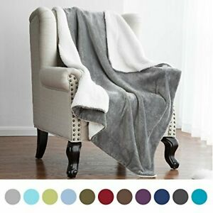 Sherpa Blanket Throw Fuzzy Bed Throws Fleece Reversible Blanket for Sofa