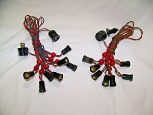NOMA Vintage 7 Bulb Christmas Light String with Wood Red Beads 2 SETS