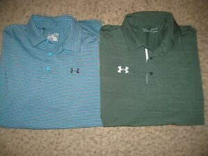 2-Lot Under Armour Loose Heat Gear Men's Polo Shirts XL Casual Dress Lounge Golf