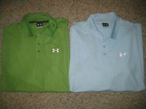2-Lot Under Armour Men's Polo Shirts XL Blue & Green Casual Dress Lounge Golf