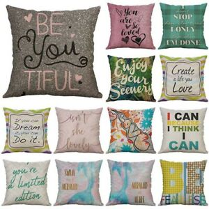 Letter Pillow Cover Decor 18#x27;#x27; Home Waist Case Words Sofa Print Cushion $3.14