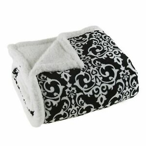 Soft Fuzzy Fleece Sherpa White and Black Damask Throw Blanket 50 x 60 Inches