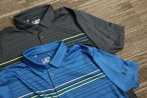 Under Armour Men's lot of 2 blue and gray striped Golf polo shirts 2XL heat gear