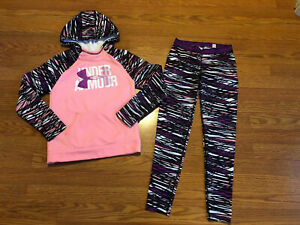 Under Armour Youth Girls PinkPurple Zebra Hoodie Leggings Stretch Pant Outfit