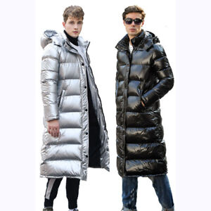 Winter Men's Puffer Glossy Duck Down Coat Jacket Thick Hooded Windbreaker Casual