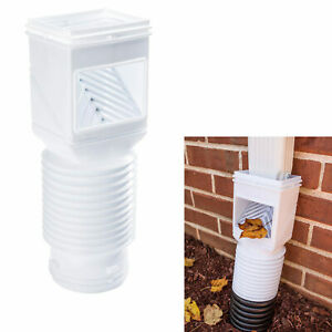 Downspout Debris Filter Strainer Gutter Leaf Guard Residential Connector White $13.29