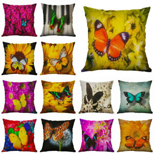 Linen Home Case Butterfly Throw Pillow Cushion Decor Cover Cotton 18#x27;#x27; Flower $3.08