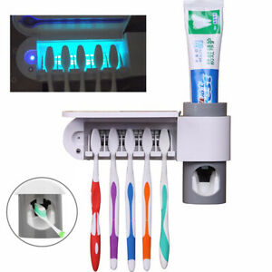 UV Light Toothbrush Holder Cleaner Automatic Toothpaste Dispenser USA